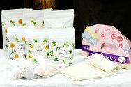 【東大寺 門前市場】jiwajiwa温まるからだにやさしい入浴剤と奈良の特産品「蚊帳生地」を使ったボディタオル。