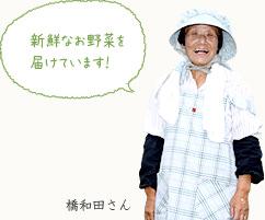 橋和田さんの声:新鮮なお野菜を届けています。
